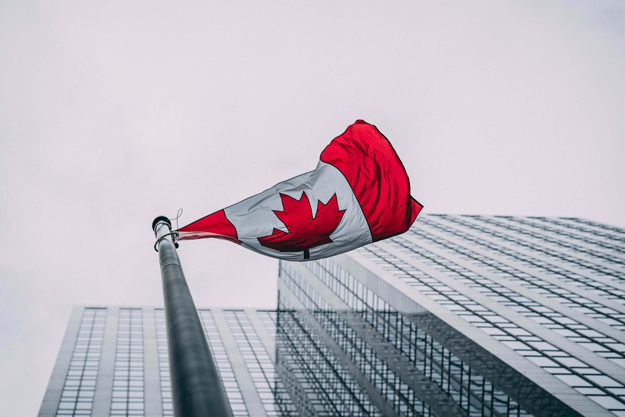 Canadian flag in downtown Toronto, Ontario, Canada